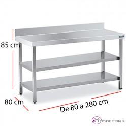 Mesa encimera mural 2 estantes  f80 - largo de 60 a 280 cm