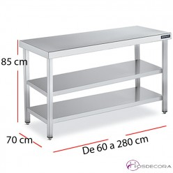Mesa encimera central dos estantes f70  - largo de 60 a 280 cm