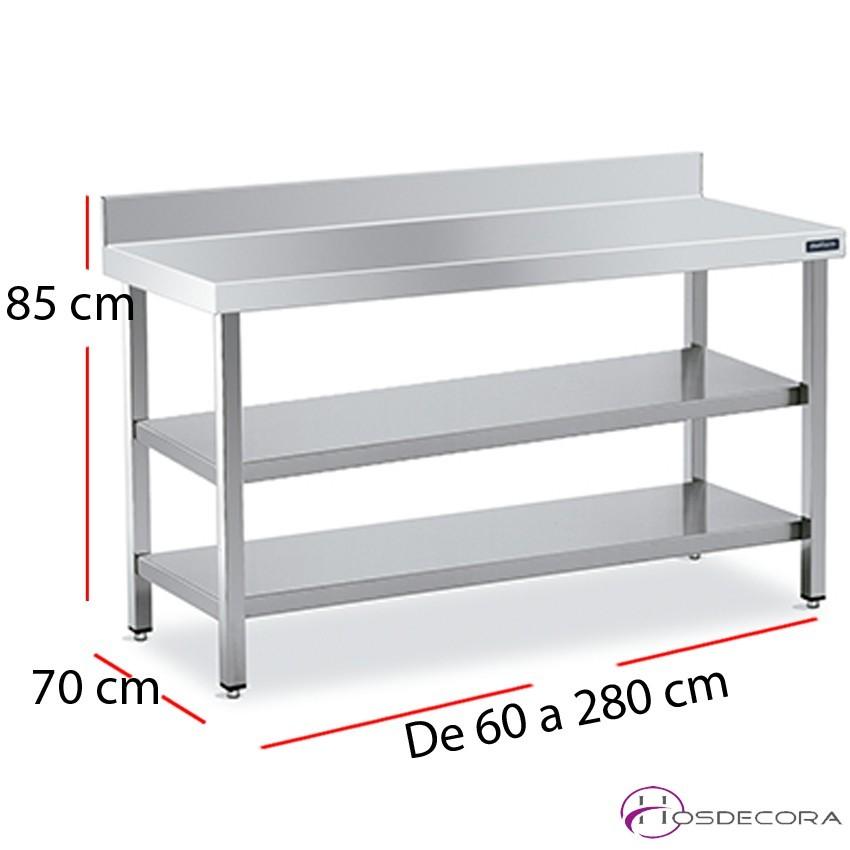 Mesa mural cocina con 2 estantes acero inoxidable fondo 70