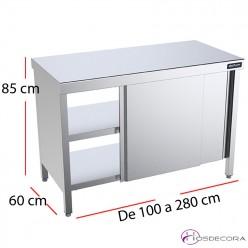 Mesa con puertas fondo 60 central pasante - Largo de 100 a 280 cm