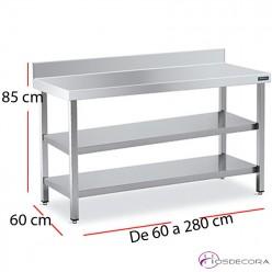Mesa mural con 2 estantes fondo 60 - largo de 60 a 280 cm