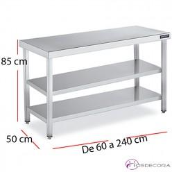 Mesa cocina dos estantes fondo 50  - largo de 60 a 240 cm