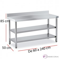 Mesa con 2 estantes mural fondo 50 - largo de 60 a 240 cm