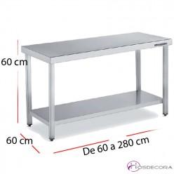 Mesa central baja con estante Altura 60 cm Fondo 60 cm