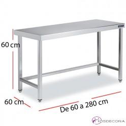 Mesa baja de altura 60 cm Fondo 60 cm. desde 60 a 200 cm