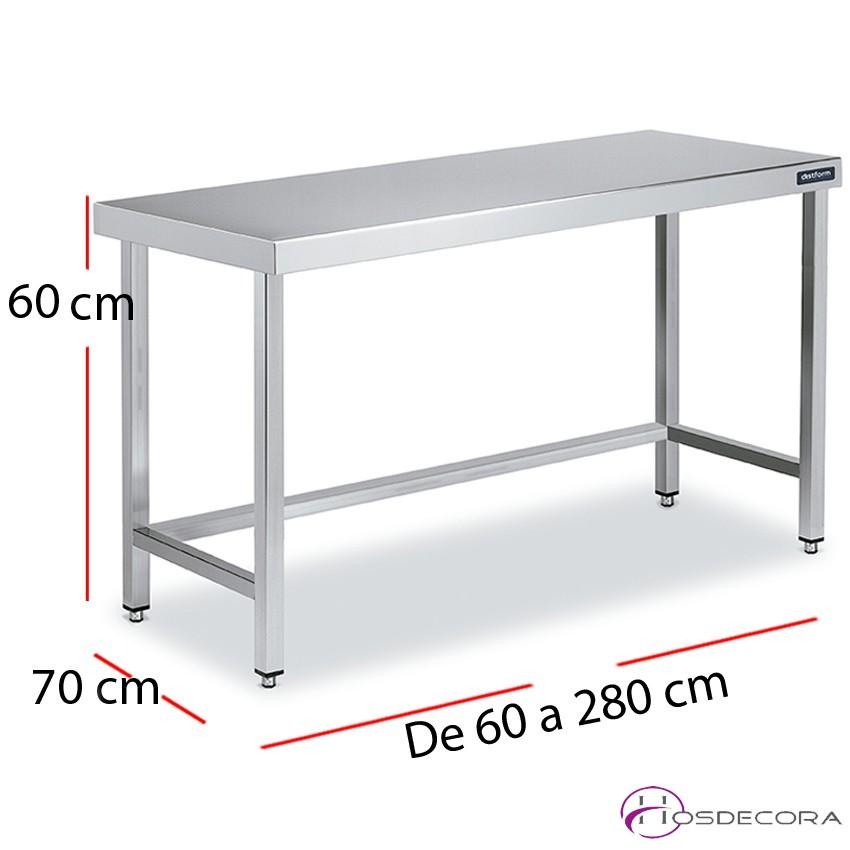 Mesa central baja altura 60 fondo 70 cm. desde 60 a 280 cm