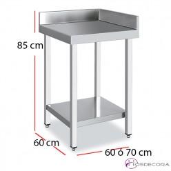 Mesa angular acero inoxidable con estante fondo 60