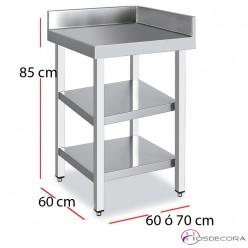 Mesa angular 2 estantes fondo 60 acero inoxidable