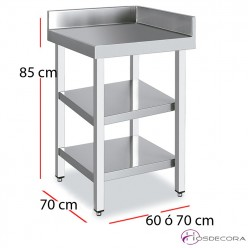 Mesa angular acero inoxidable 2 estantes fondo 70