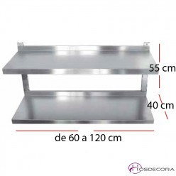 Estante de pared doble fondo 40 cm largo 60 a 120 cm