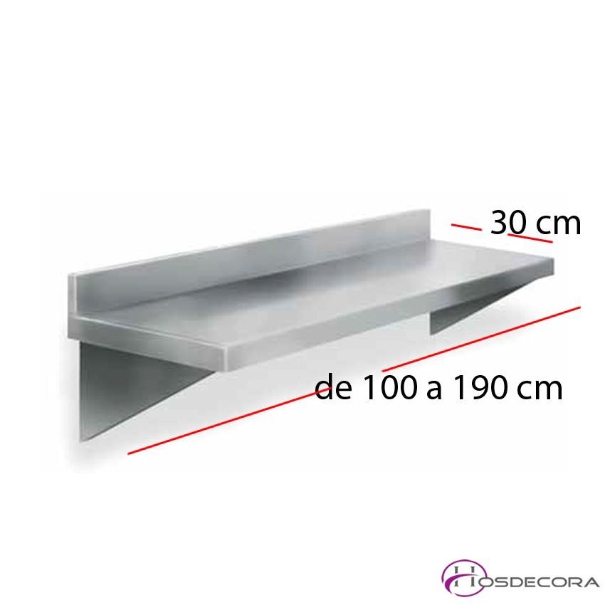 Estante liso de acero inoxidable fondo 30 cm