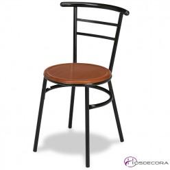 Silla de cafetería con asiento de madera