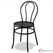 Silla cafetin negra con asiento metalico Thonet