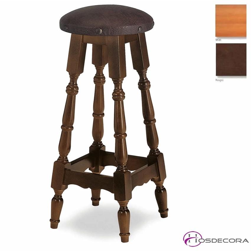 Taburete de madera redondo MR21 asiento de madera
