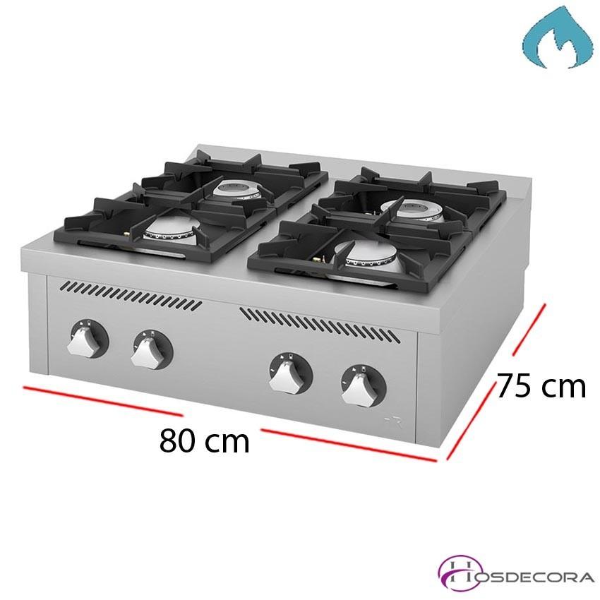 Cocina 4 Fuegos sobremesa 800X750- 12 Kw Albergues.