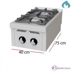 Fogon Hostelería 2 Fuegos a gas 800X550x280 - 12 Kw