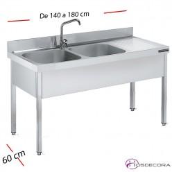 Fregadero inox  130 x 60 cm sin estante - 1 Cubeta esc Dcha