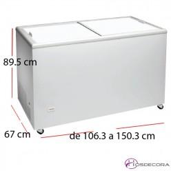 Congelador puerta corredera de 237 a 390 litros
