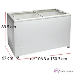 Congelador puerta cristal corredera de 237 a 390 litros