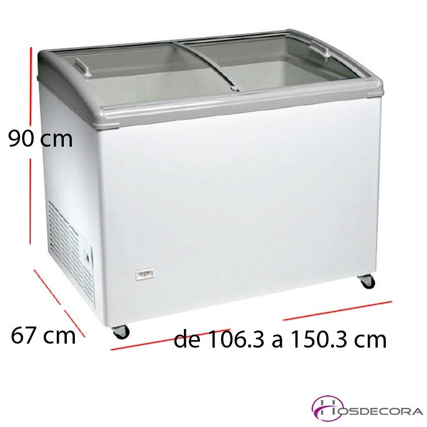 Arcón congelador puerta cristal curvo de 261 a 405 litros