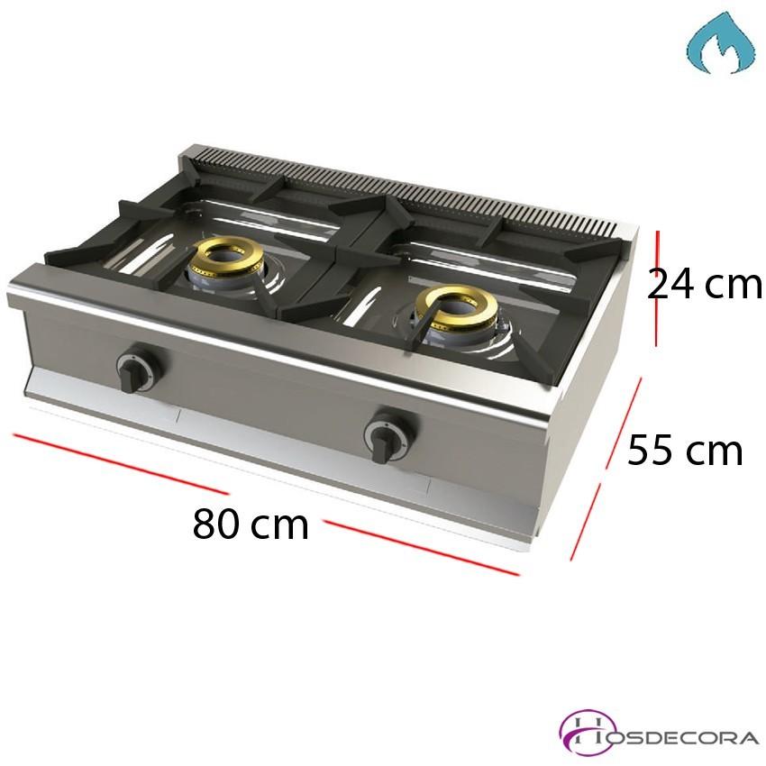 Cocina a gas con termopar fondo 55 con 2 fuegos 8kW