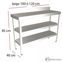 Mesa de trabajo mural Fondo 40 - Largo 100 a 120 cm