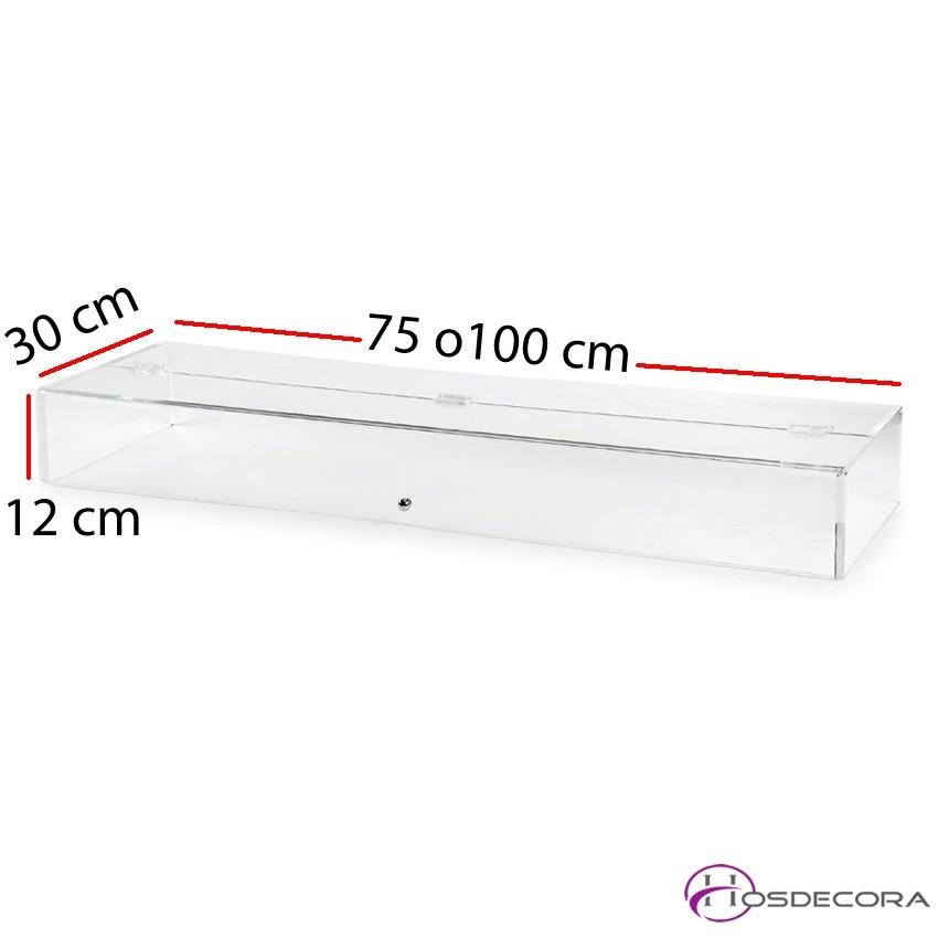 Vitrina de metacrilato neutra 75/100x30x12 cm