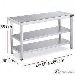 Mesa central dos estantes fondo 60  - largo de 60 a 280 cm