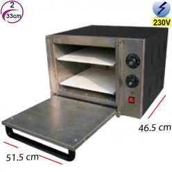 Horno de Pizza Eléctrico 2- Ø 33 cm- 18 Kw.