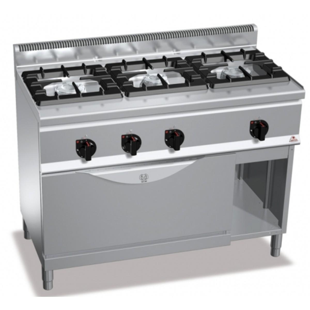 Cocina a gas 3 fuegos horno industrial 1200x600 rog6f3bh12 t for Cocina 6 fuegos industrial