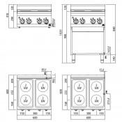 Cocina Electrica + Horno 4 Fuegos 11 Kw. industrial