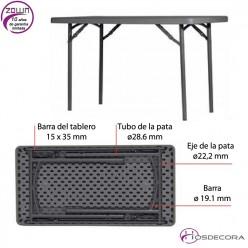 Mesa plegable capacidad 4/per. 125x63,5 cm - L120