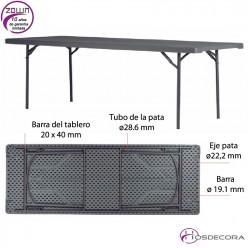 Mesa plegable capacidad 8/per. 240 x 91,4 cm - XXL240