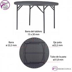 Mesa plegable redonda capacidad 8/per. 152 cm - PLANET 150