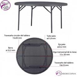 Mesa plegable redonda capacidad 8/per. 160 cm - PLANET 160