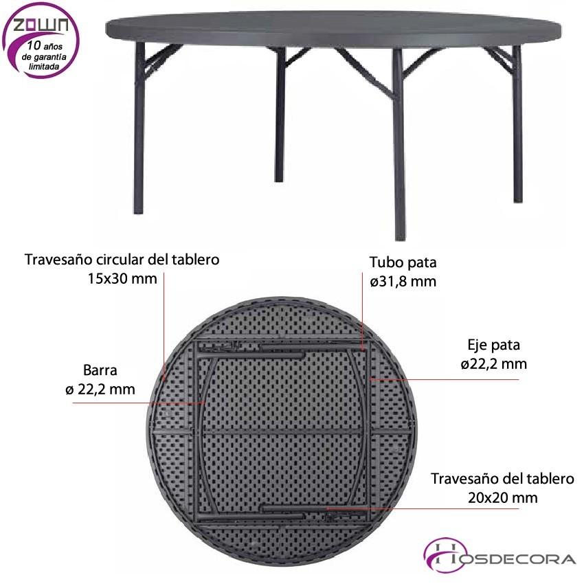 Mesa plegable redonda capacidad 10/per. 180 cm - PLANET 180