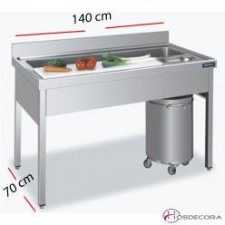 Mesa Fregadero para Verduras de 140 x 70 cm.
