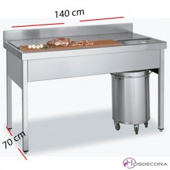Mesa Fregadero para Carnes de 140 x 70 cm.