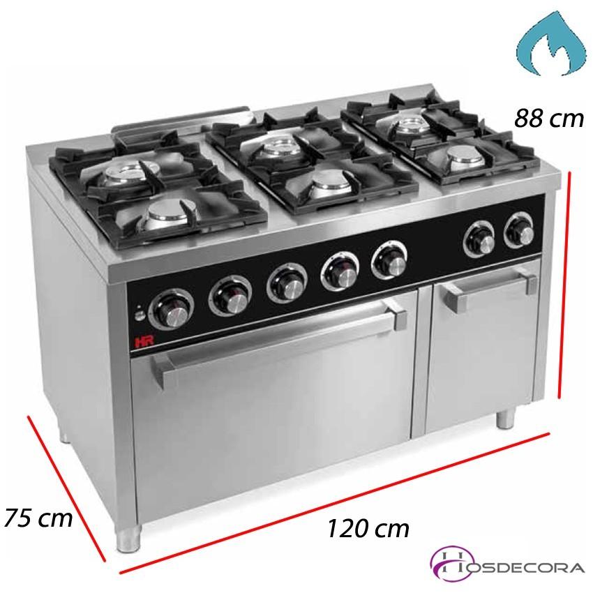 Cocina de Gas + Horno- 6 Fuegos 8,5  y 7 KW- C6F750H