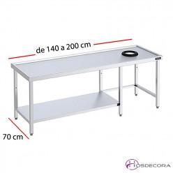 Mesa de prelavado con aro, marco de refuerzo y estante parcial desde 140 a 200 cm x 70 cm