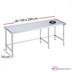 Mesa con aro y marco de refuerzo desde 140 a 200 cm x 70 cm