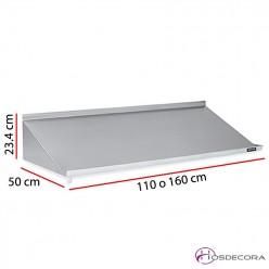Estantería mural inclinada para cestas de 110 o 160 cm x 50 cm
