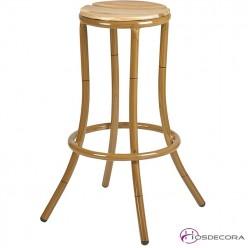 Taburete alto con asiento de madera- ALBERO
