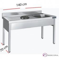 Fregadero Con aro y hueco lavavajillas 180 x 60 cm.