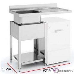 Fregadero para lavavajillas con estante 100 x 55 cm - 1 poza