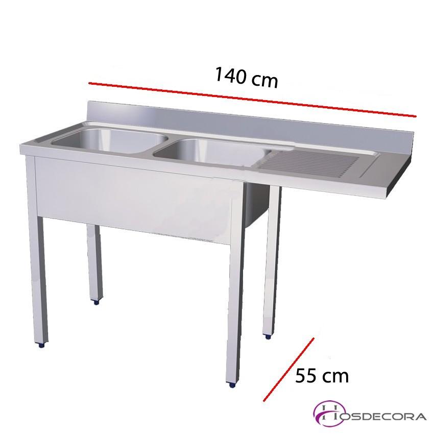 Fregadero para lavavajillas 140 x 55 cm - 2 pozas
