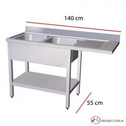 Fregadero con estante para lavavajillas 140 x 55 cm - 2 pozas