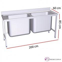 Fregadero gran capacidad dos cubeta fondo 60 o 70 cm