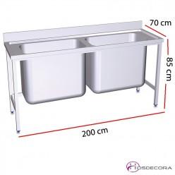 Fregadero gran capacidad dos cubetas fondo 60 o 70 cm