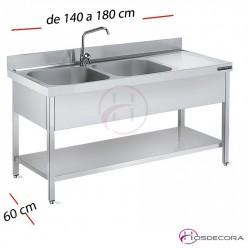 Fregadero inox  140 x 60 cm con estante - 1 Cubeta esc Dcha